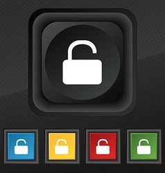 Open padlock icon symbol set of five colorful vector