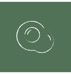 Fried egg icon drawn in chalk vector
