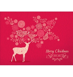 Merry christmas new year deer holiday card nature vector
