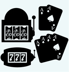 Gambling winning in slot machine and poker cards vector
