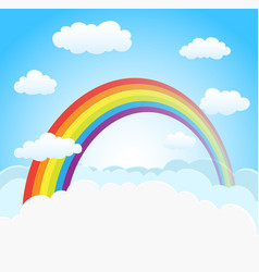 Sky background with rainbow vector