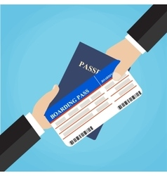 Businessman receiving boarding pass and passport vector
