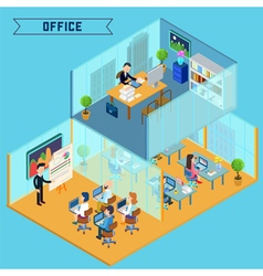 Isometric office interior corporate business vector