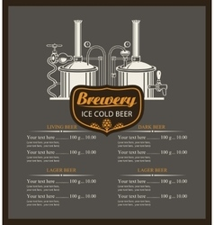 Beer brewery menu list vector
