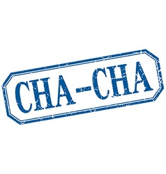 Cha-cha square blue grunge vintage isolated label vector