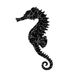 Grunge seahorse vector