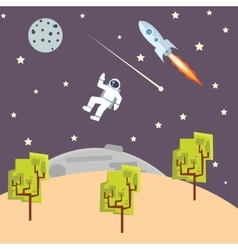 Outer space kids style with spaceman vector