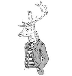 Anthropomorphic design of deer dressed up in retro vector