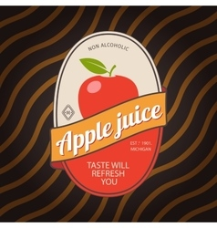 Apple juice retro fruit label vector