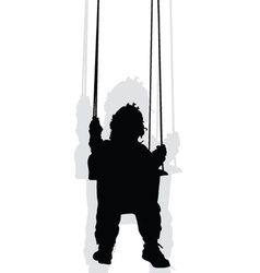 Baby on a swing black silhouette vector