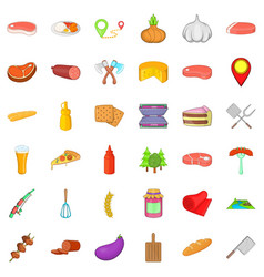 Barbecue party icons set cartoon style vector