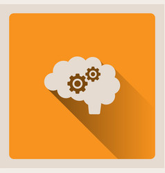 brain thinking on yellow background with shade vector image