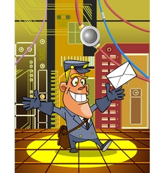Cartoon postman with a letter on the background vector