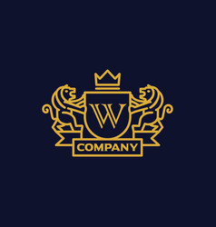 Coat of arms letter w company vector