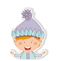 color image with half body gnome blonde boy vector image