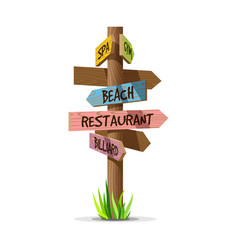 colored wooden arrow resort signboard vector image vector image