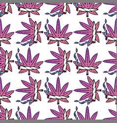 Cute weed marijuana seamless pattern background vector