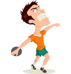 Disc Thrower Caricature vector image vector image