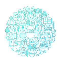 easter line icon circle design vector image vector image