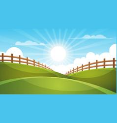 fence cartoon landscape sun cloud sky vector image vector image