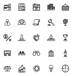 Franchise line icons on white background vector image vector image