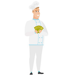 Happy caucasian chef cook holding money vector