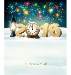 Happy New Year 2016 background with fireworks vector image