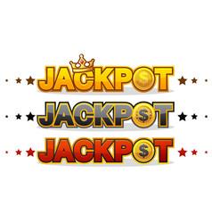 jackpot wins money gamble winner text shining vector image vector image