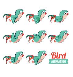 Key frames animation of bird flying cartoon zoo vector