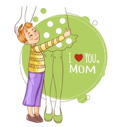 Little boy embraces his mother vector image vector image