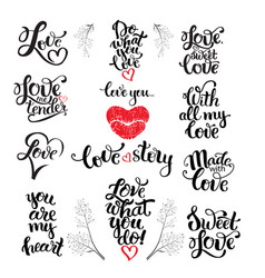 love wedding and valentine lettering vector image vector image