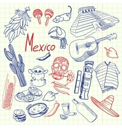 Mexico Symbols Pen Drawn Doodles Collection vector image