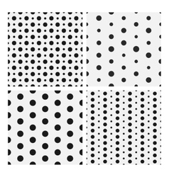 Monochrome dotted seamless patterns collection vector