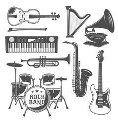 Music Monochrome Elements Set vector image vector image