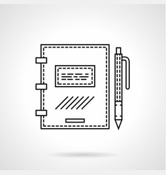 notebook with pen flat line icon vector image vector image