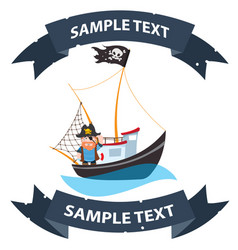 pirate frigate with ribbon banner pictures on a vector image vector image