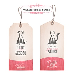 Set of Valentines day gift tags vector image