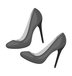 Shoes with stiletto heel icon in monochrome style vector