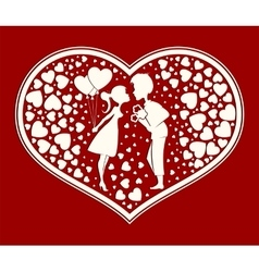 Silhouette heart in love boy and girl vector