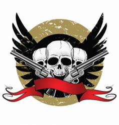 skulls with pistols vector image
