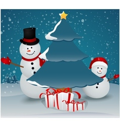 Snowman family in christmas winter scene with gift vector