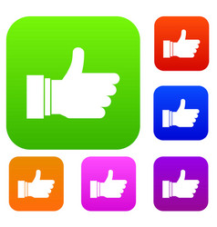 thumb up sign set collection vector image