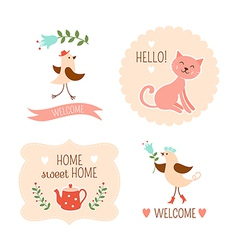 Welcome home decorative elements vector image vector image