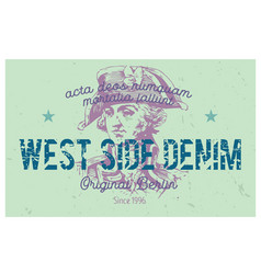West side denim berlin clothing tag vector