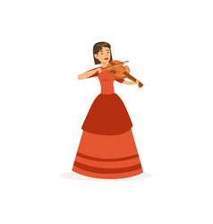 woman violinist performing musical composition vector image vector image