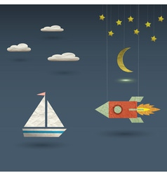 Retro rocket and sailboat vector