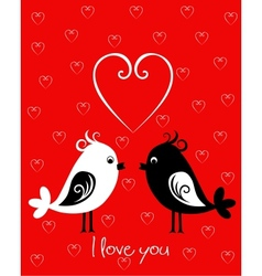 Happy Valentines Day card with birds vector image