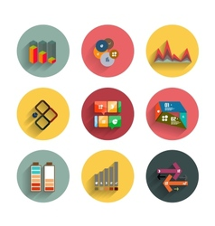 Infographic inside colorful circles flat icon set vector