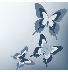 Gray background with butterfly vector