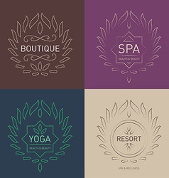 Set of floral logos template for beauty salon spa vector